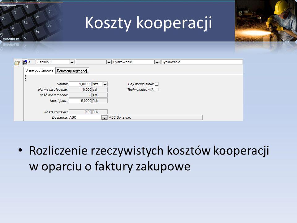 Koszty kooperacji Rozliczenie rzeczywistych kosztów kooperacji w oparciu o faktury zakupowe