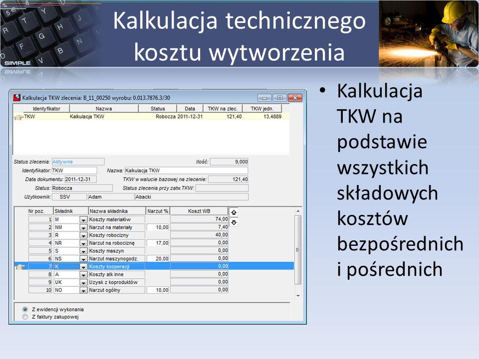 Kalkulacja technicznego kosztu wytworzenia