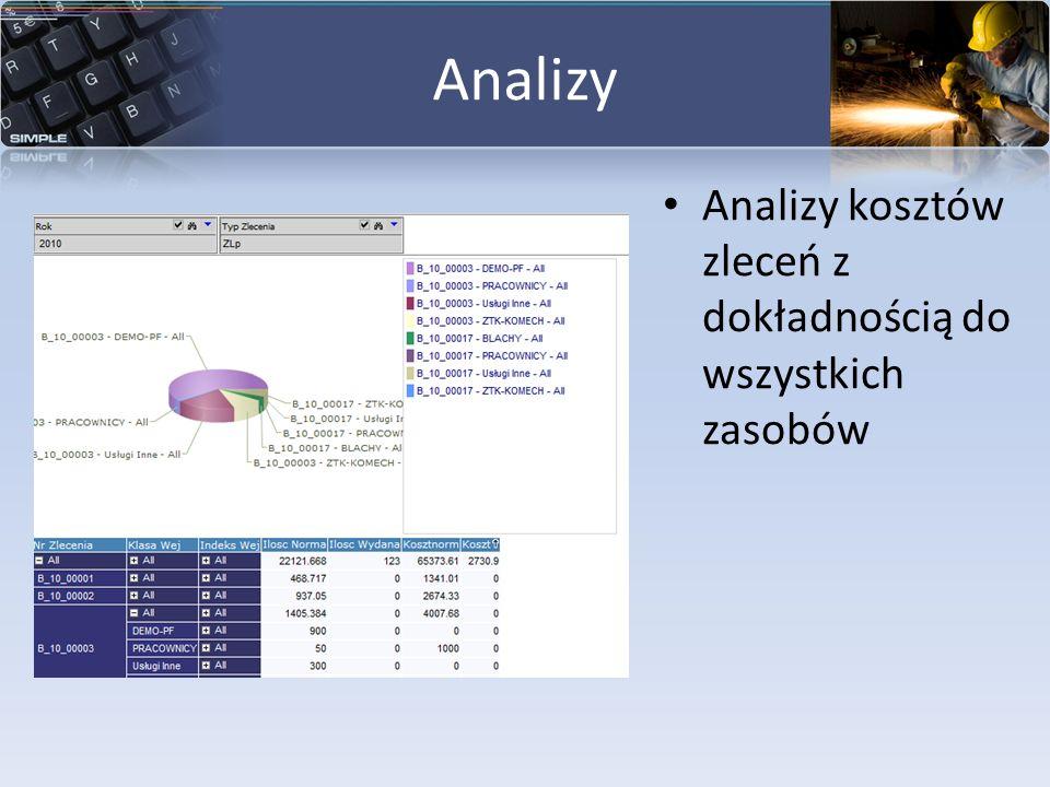 Analizy Analizy kosztów zleceń z dokładnością do wszystkich zasobów