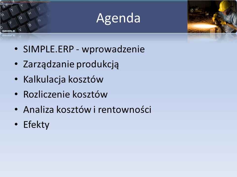 Agenda SIMPLE.ERP - wprowadzenie Zarządzanie produkcją