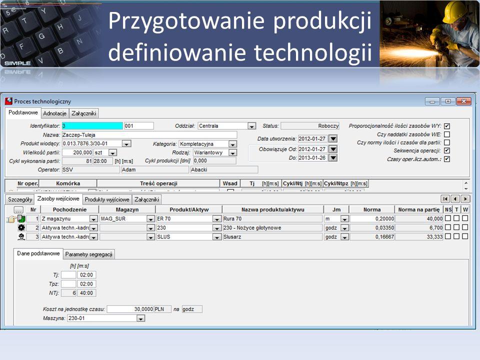 Przygotowanie produkcji definiowanie technologii