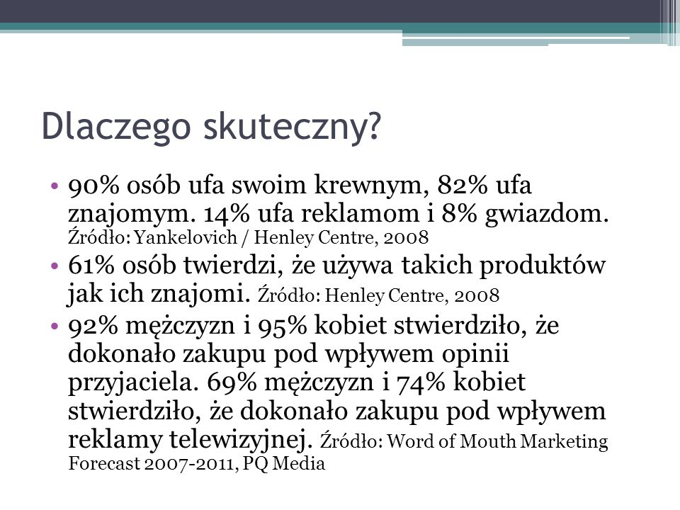 Dlaczego skuteczny 90% osób ufa swoim krewnym, 82% ufa znajomym. 14% ufa reklamom i 8% gwiazdom. Źródło: Yankelovich / Henley Centre, 2008.
