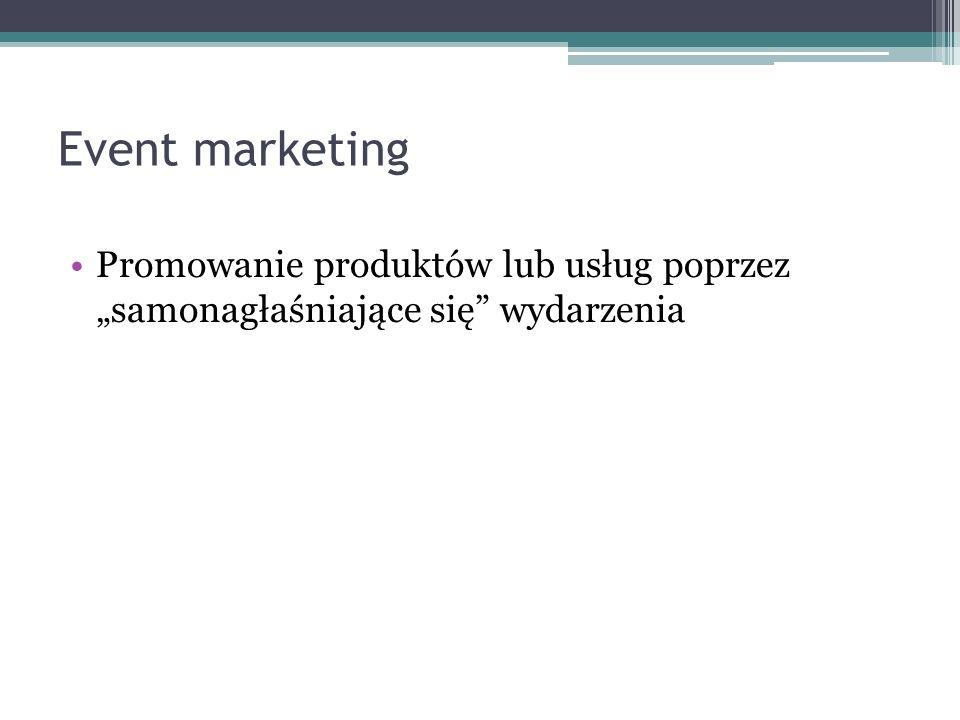 """Event marketing Promowanie produktów lub usług poprzez """"samonagłaśniające się wydarzenia"""