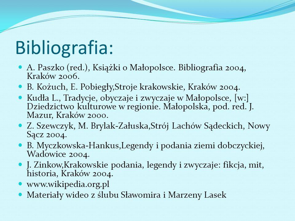 Bibliografia: A. Paszko (red.), Książki o Małopolsce. Bibliografia 2004, Kraków 2006. B. Kożuch, E. Pobiegły,Stroje krakowskie, Kraków 2004.