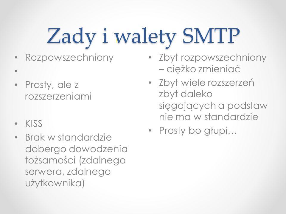 Zady i walety SMTP Rozpowszechniony Prosty, ale z rozszerzeniami KISS