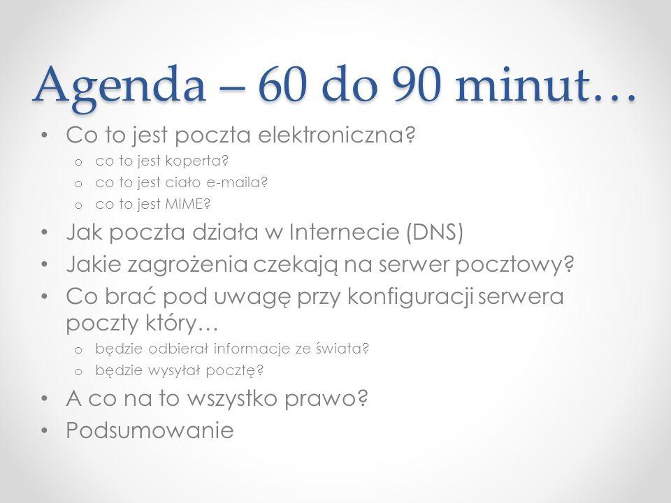 Agenda – 60 do 90 minut… Co to jest poczta elektroniczna