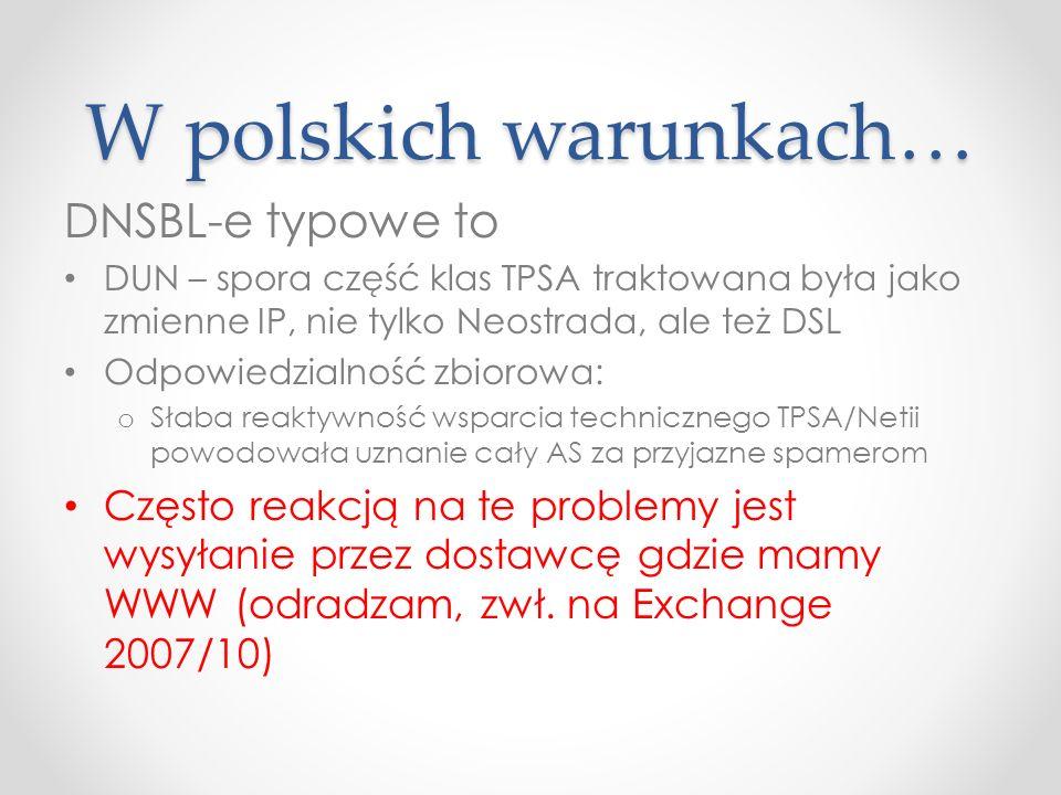 W polskich warunkach… DNSBL-e typowe to