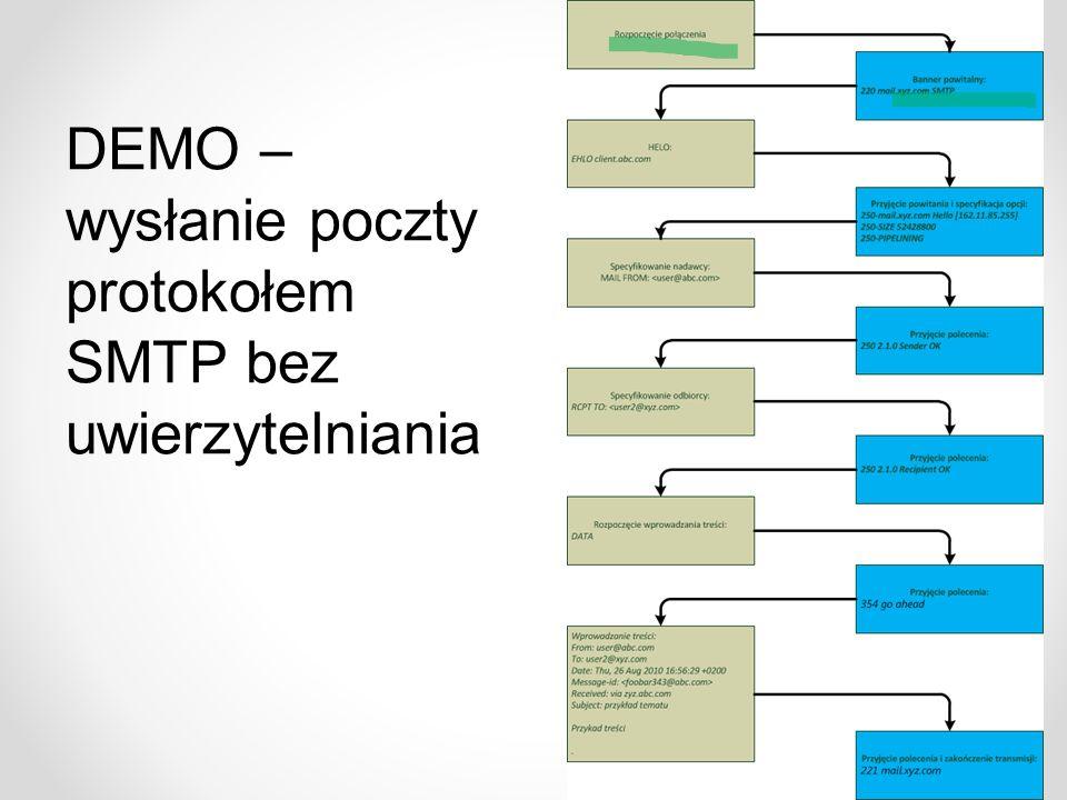 DEMO – wysłanie poczty protokołem SMTP bez uwierzytelniania