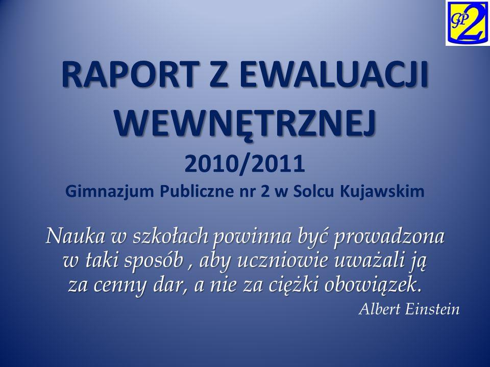 RAPORT Z EWALUACJI WEWNĘTRZNEJ 2010/2011 Gimnazjum Publiczne nr 2 w Solcu Kujawskim
