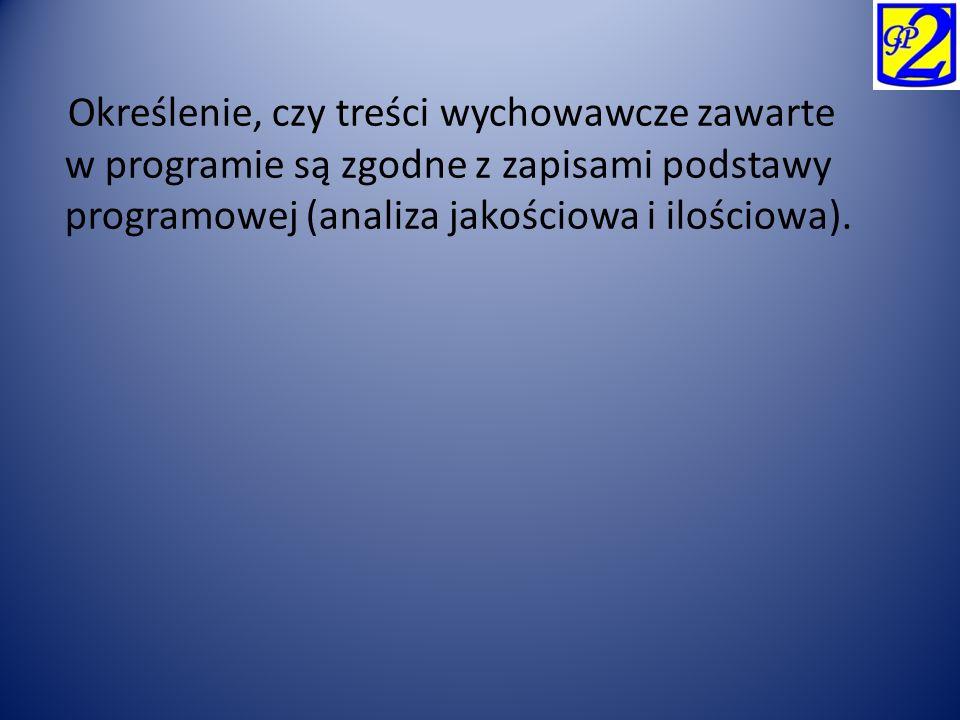 Określenie, czy treści wychowawcze zawarte w programie są zgodne z zapisami podstawy programowej (analiza jakościowa i ilościowa).