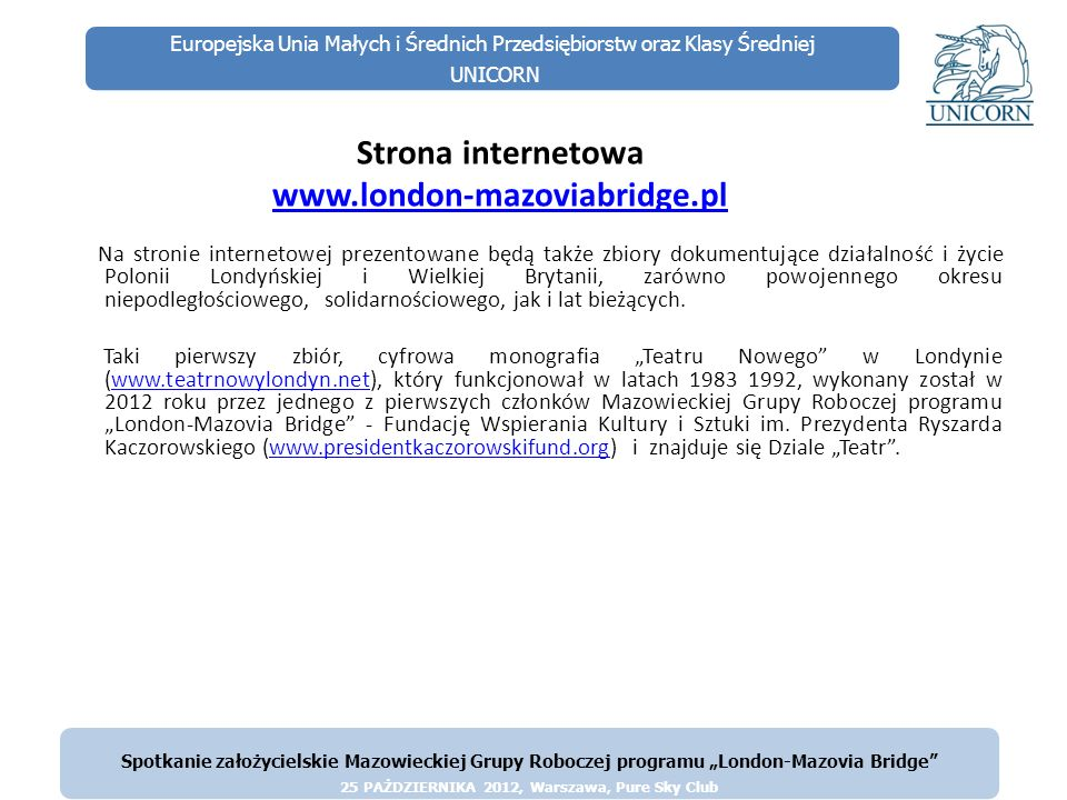 Strona internetowa www.london-mazoviabridge.pl