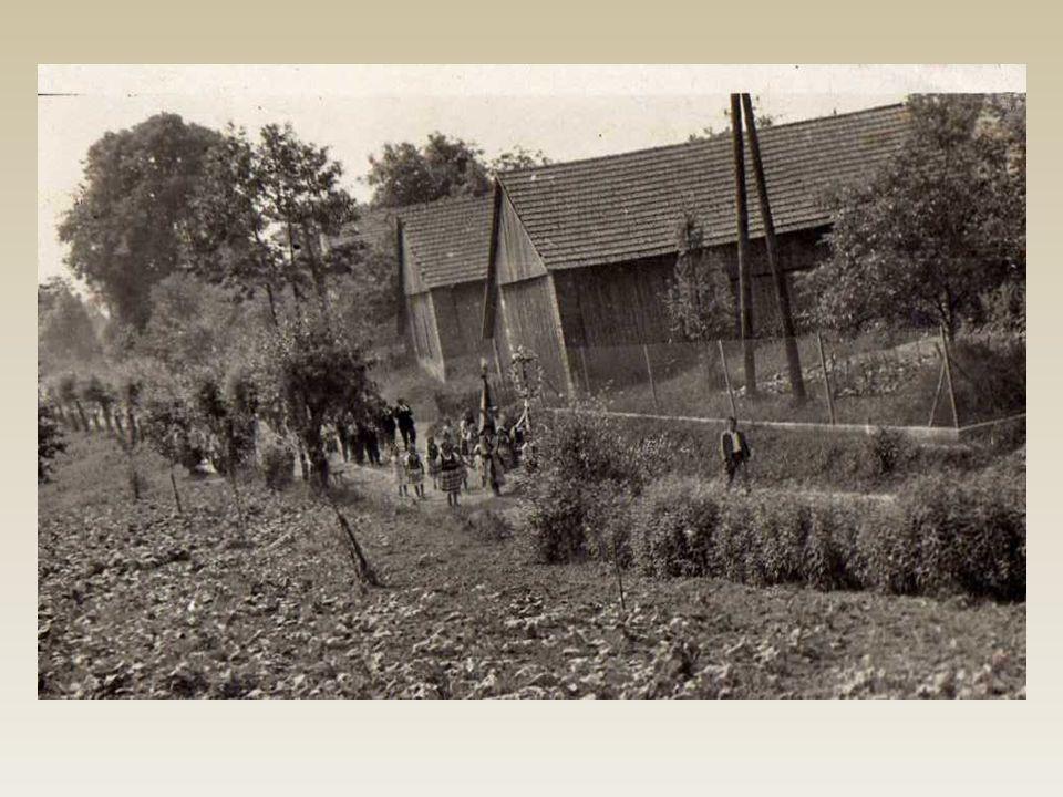 Zdjęcie to pochodzi z 1942r i przedstawia procesję drogami Cholerzyna i Morawicy.