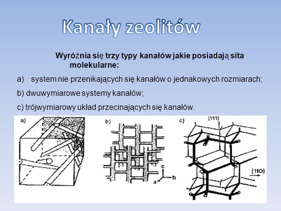Kanały zeolitów Wyróżnia się trzy typy kanałów jakie posiadają sita molekularne: system nie przenikających się kanałów o jednakowych rozmiarach;