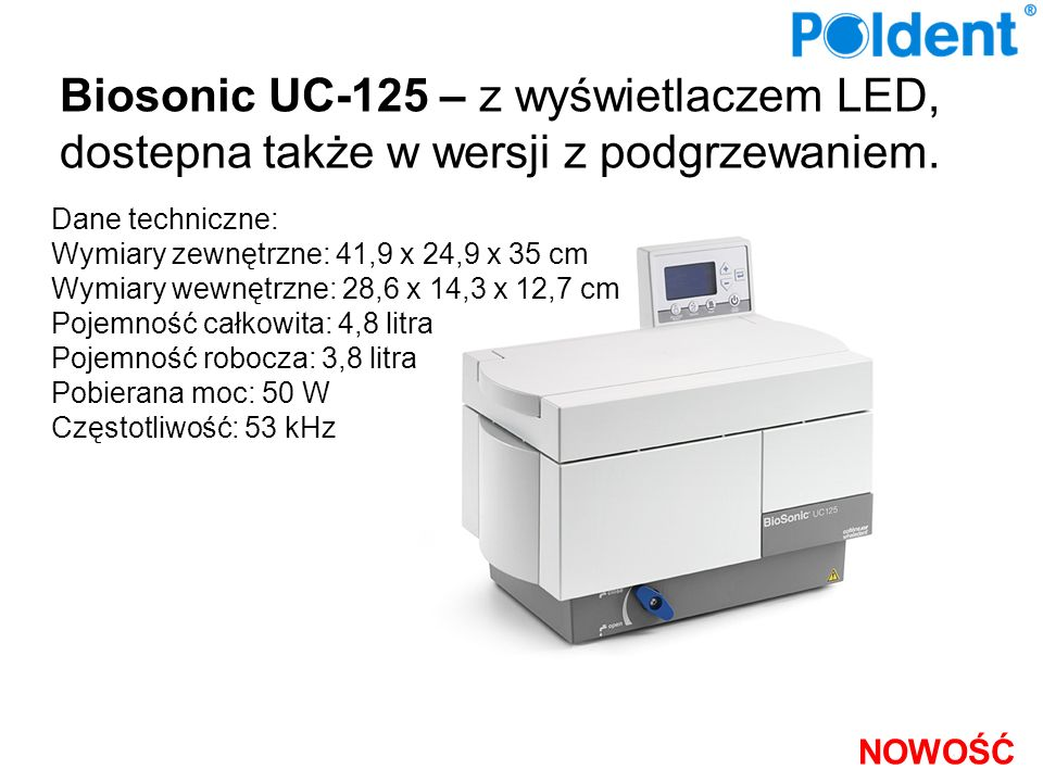 Biosonic UC-125 – z wyświetlaczem LED, dostepna także w wersji z podgrzewaniem.