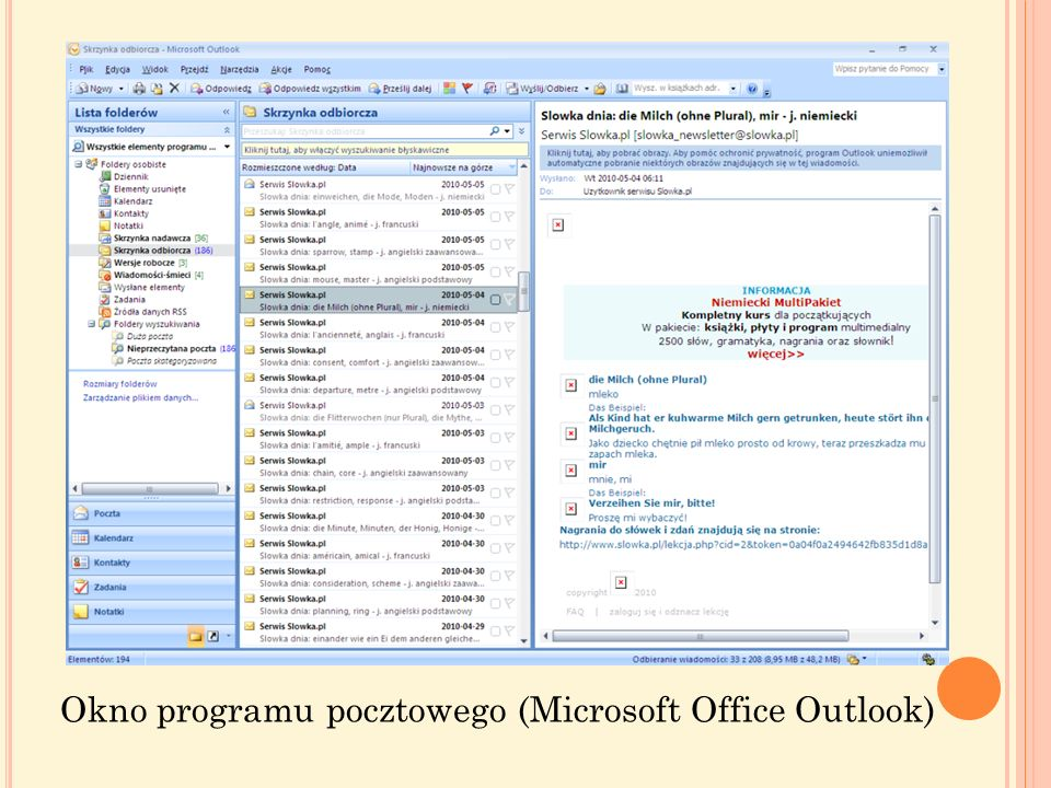 Okno programu pocztowego (Microsoft Office Outlook)