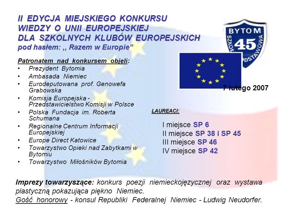 II EDYCJA MIEJSKIEGO KONKURSU WIEDZY O UNII EUROPEJSKIEJ DLA SZKOLNYCH KLUBÓW EUROPEJSKICH pod hasłem: ,, Razem w Europie