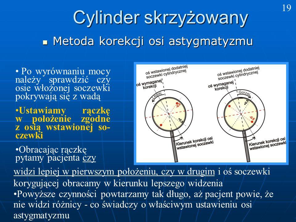 Cylinder skrzyżowany Metoda korekcji osi astygmatyzmu 19