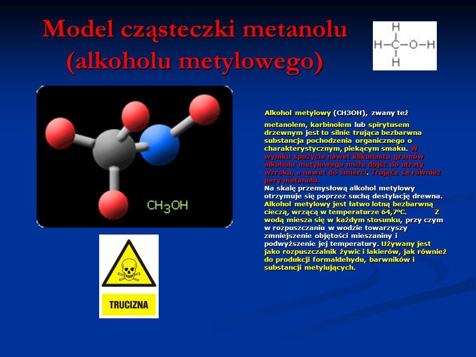 Model cząsteczki metanolu (alkoholu metylowego)