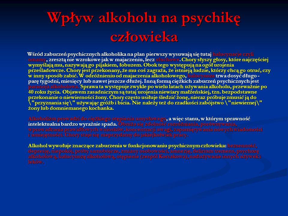 Wpływ alkoholu na psychikę człowieka