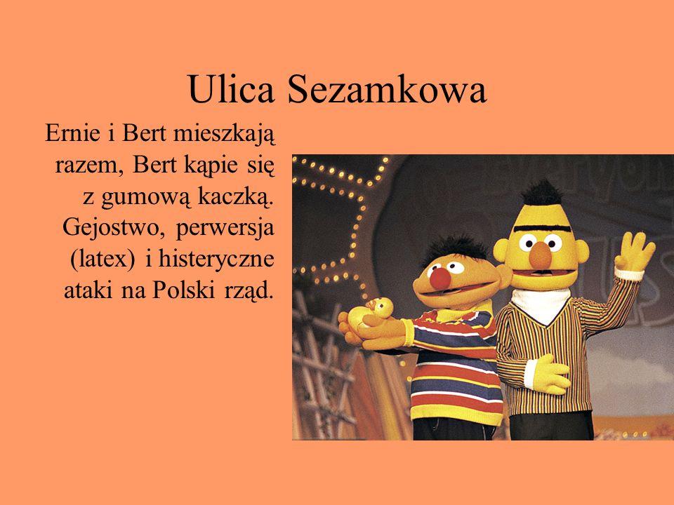 Ulica Sezamkowa Ernie i Bert mieszkają razem, Bert kąpie się z gumową kaczką.