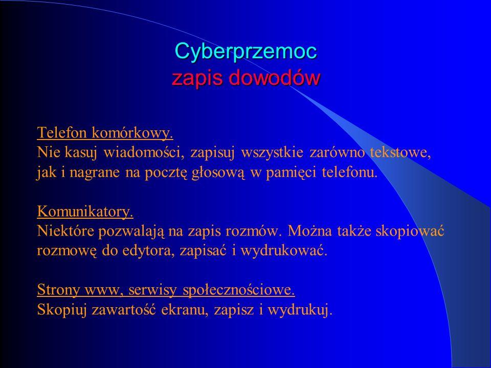 Cyberprzemoc zapis dowodów