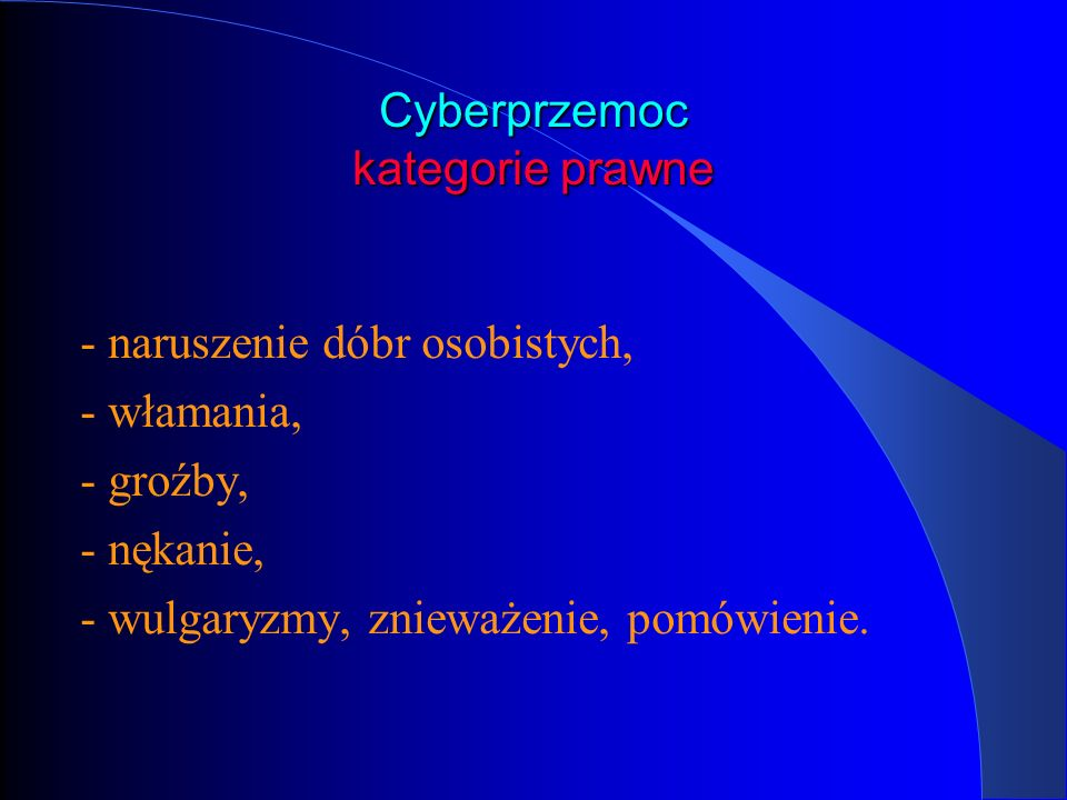 Cyberprzemoc kategorie prawne