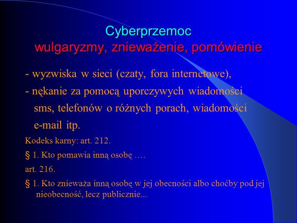 Cyberprzemoc wulgaryzmy, znieważenie, pomówienie