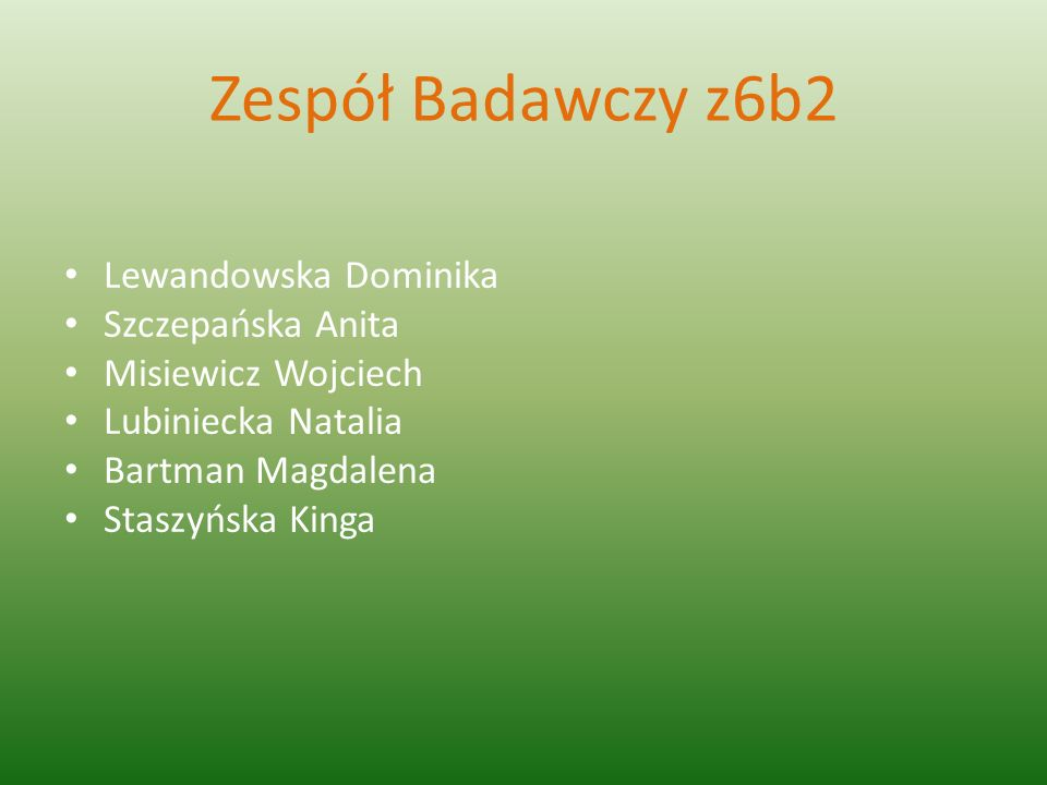 Zespół Badawczy z6b2 Lewandowska Dominika Szczepańska Anita
