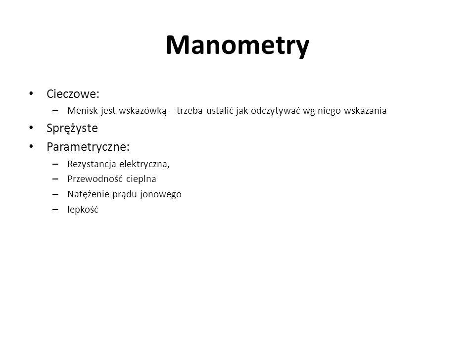 Manometry Cieczowe: Sprężyste Parametryczne: