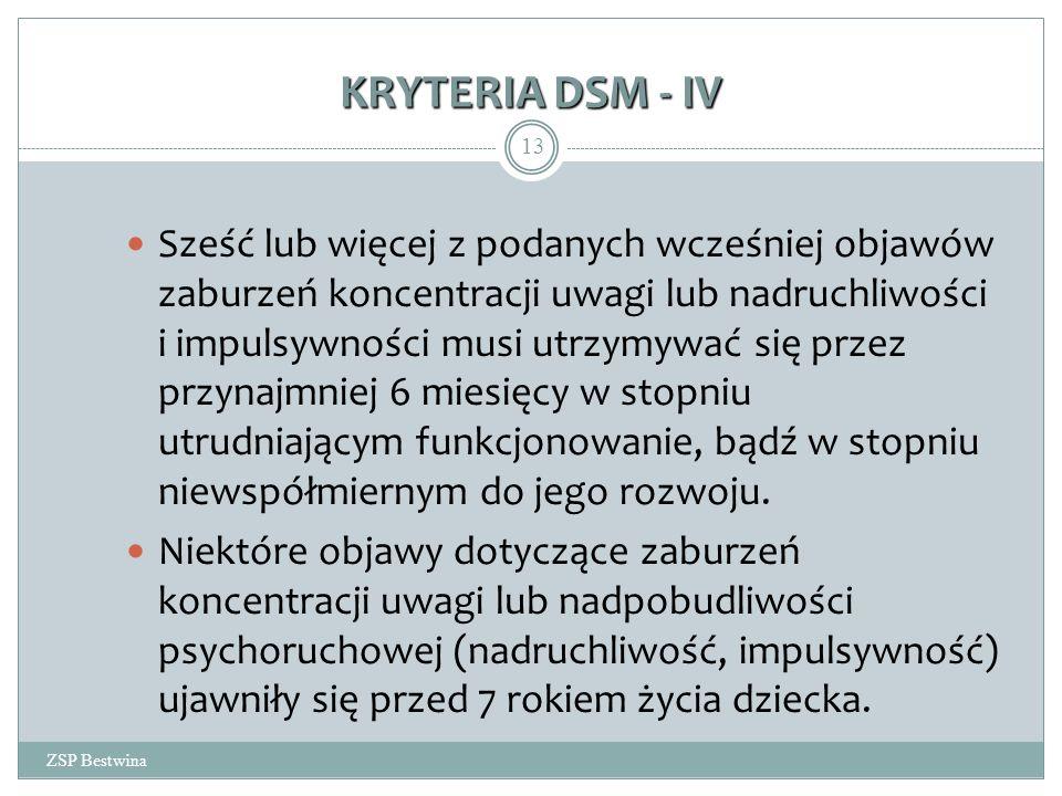 KRYTERIA DSM - IV