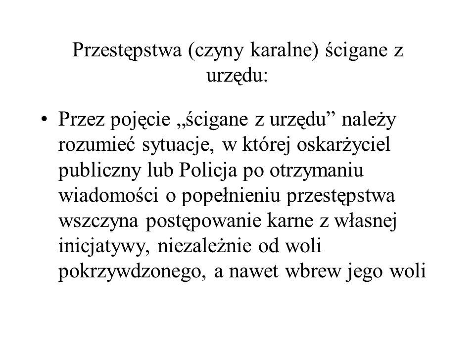 Przestępstwa (czyny karalne) ścigane z urzędu: