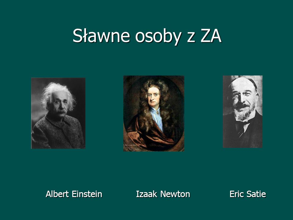 Sławne osoby z ZA Albert Einstein Izaak Newton Eric Satie