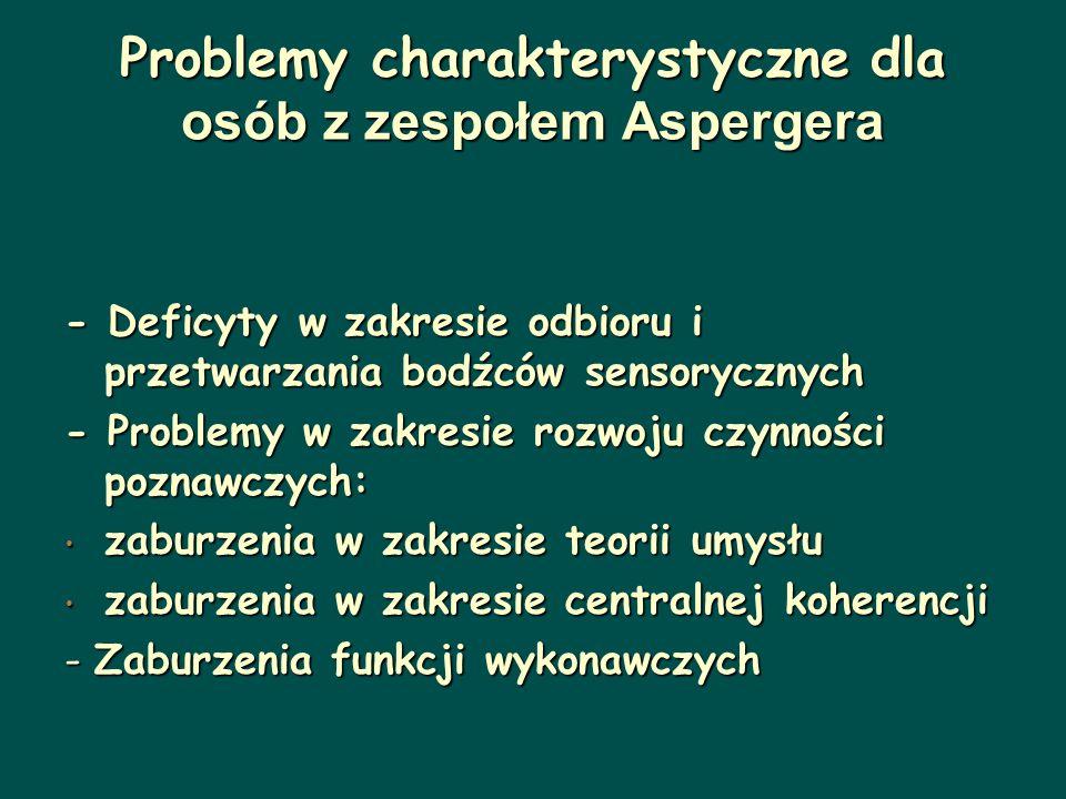 Problemy charakterystyczne dla osób z zespołem Aspergera
