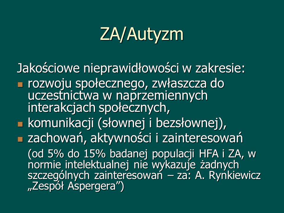 ZA/Autyzm Jakościowe nieprawidłowości w zakresie: