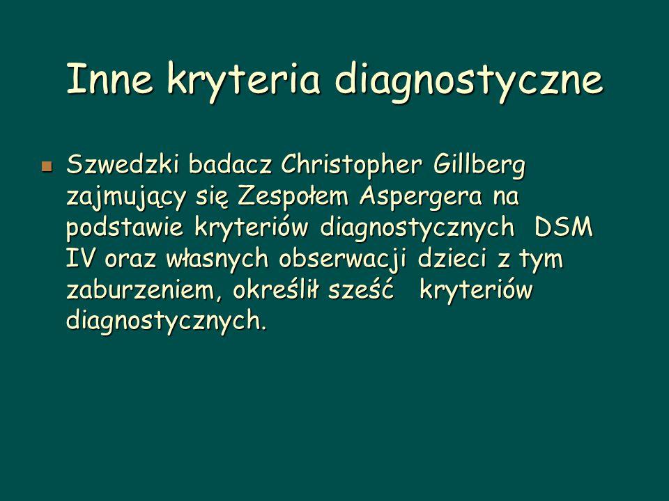 Inne kryteria diagnostyczne