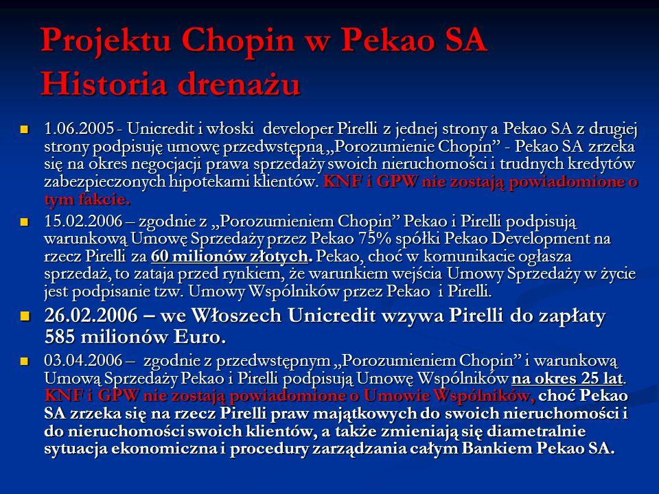Projektu Chopin w Pekao SA Historia drenażu