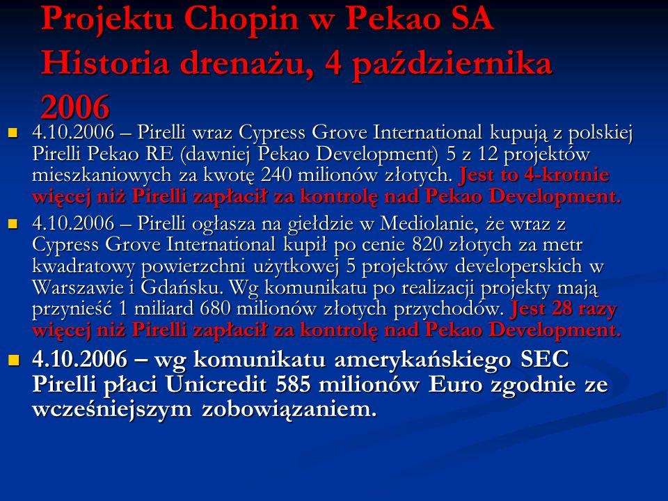 Projektu Chopin w Pekao SA Historia drenażu, 4 października 2006