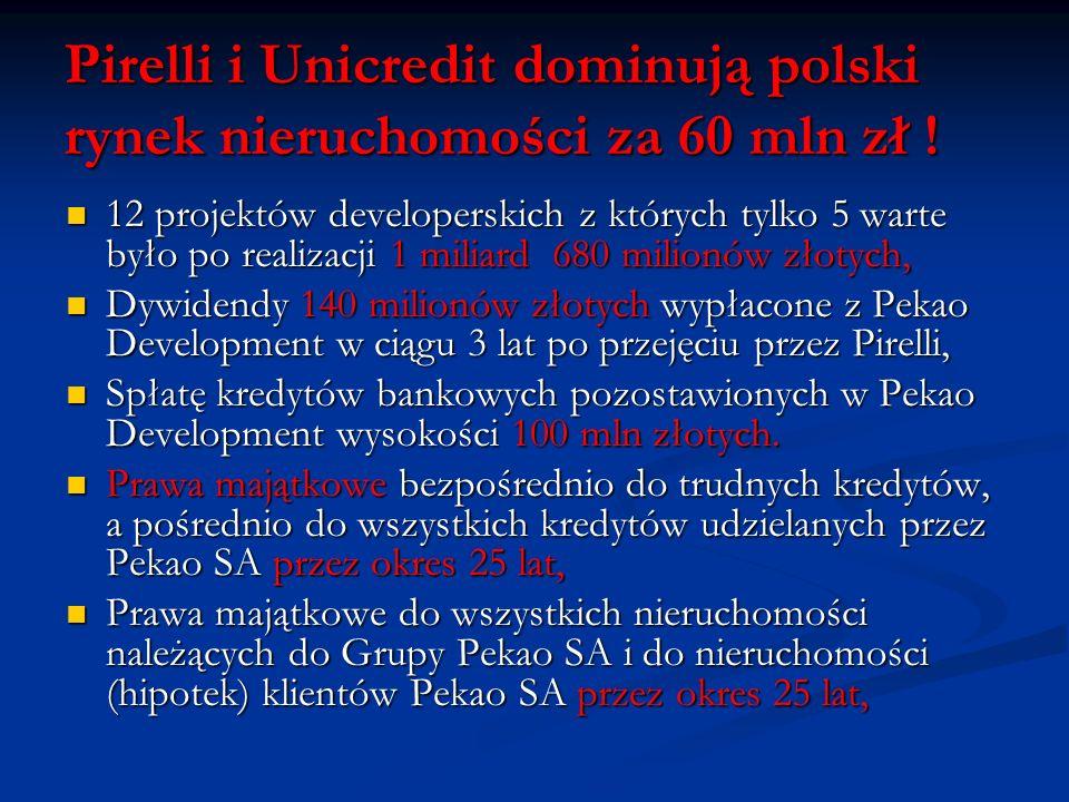 Pirelli i Unicredit dominują polski rynek nieruchomości za 60 mln zł !