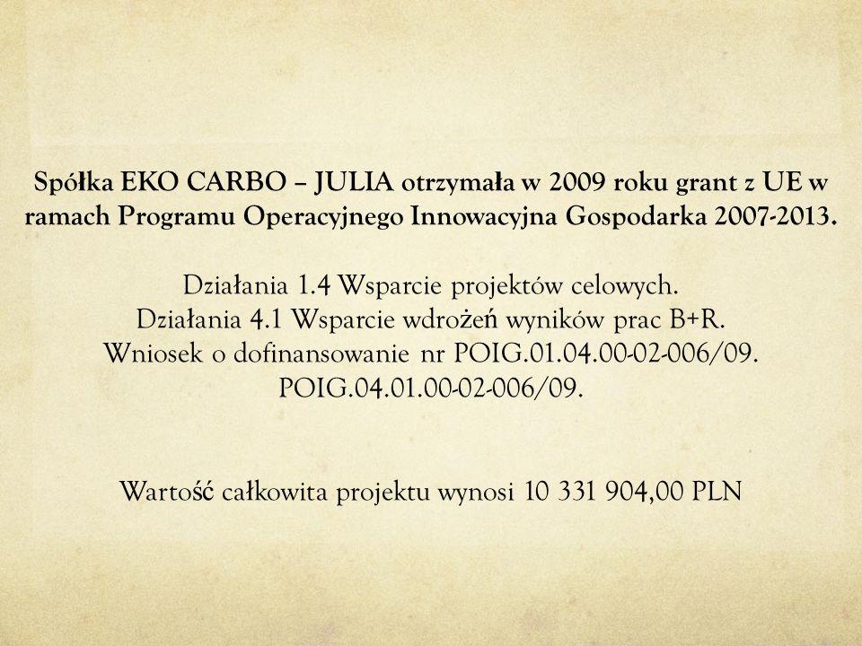 Spółka EKO CARBO – JULIA otrzymała w 2009 roku grant z UE w ramach Programu Operacyjnego Innowacyjna Gospodarka 2007-2013.