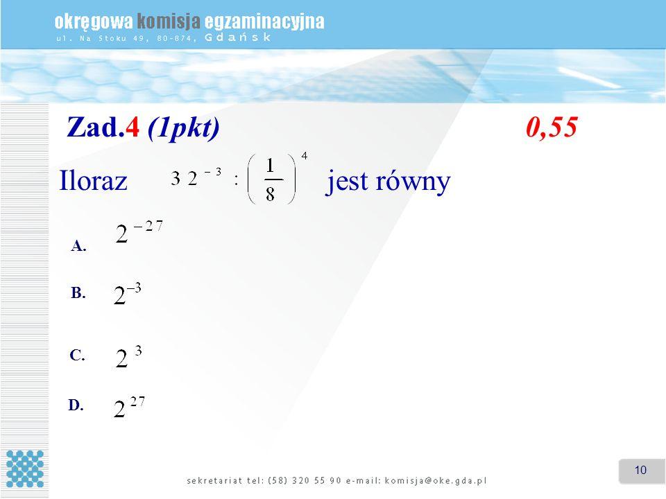 Zad.4 (1pkt) 0,55 Iloraz jest równy A. B. C. D.