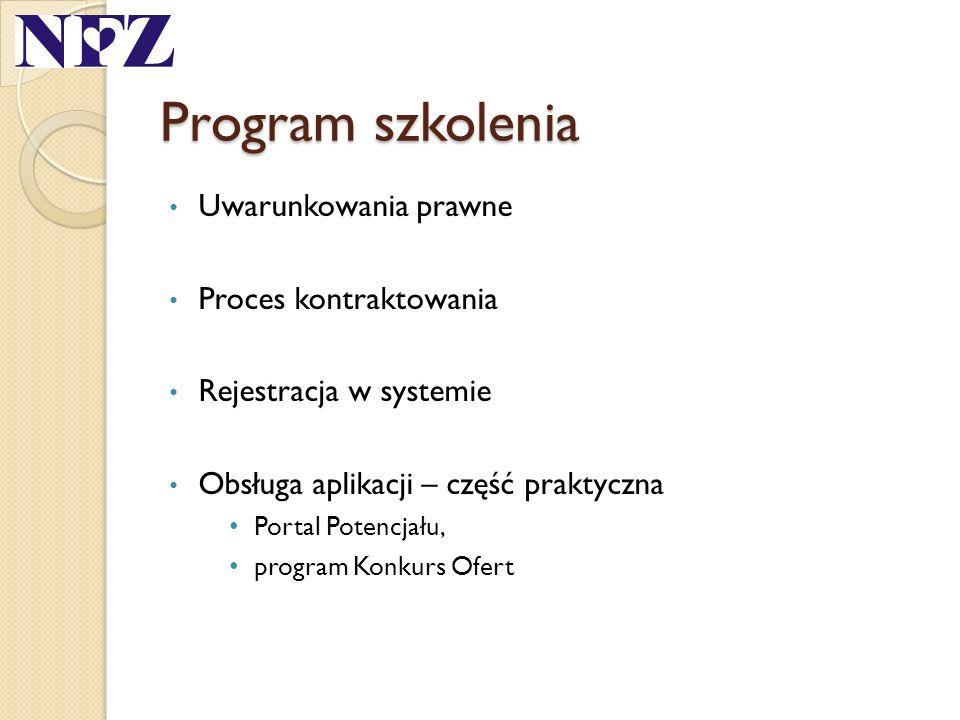 Program szkolenia Uwarunkowania prawne Proces kontraktowania