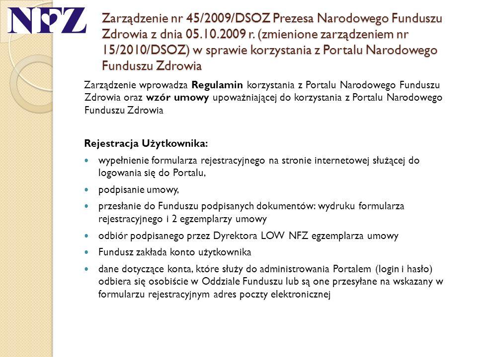 Zarządzenie nr 45/2009/DSOZ Prezesa Narodowego Funduszu Zdrowia z dnia 05.10.2009 r. (zmienione zarządzeniem nr 15/2010/DSOZ) w sprawie korzystania z Portalu Narodowego Funduszu Zdrowia