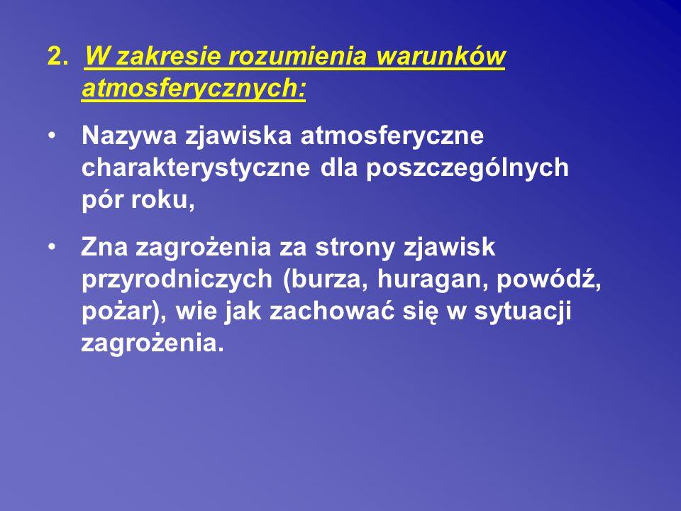 2. W zakresie rozumienia warunków atmosferycznych: