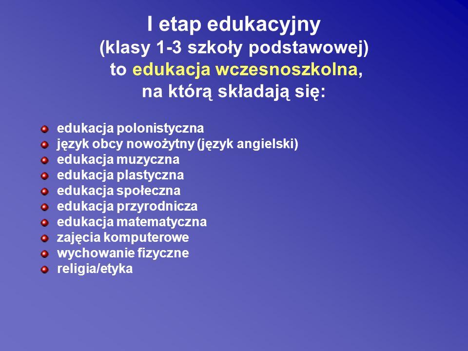 (klasy 1-3 szkoły podstawowej) to edukacja wczesnoszkolna,