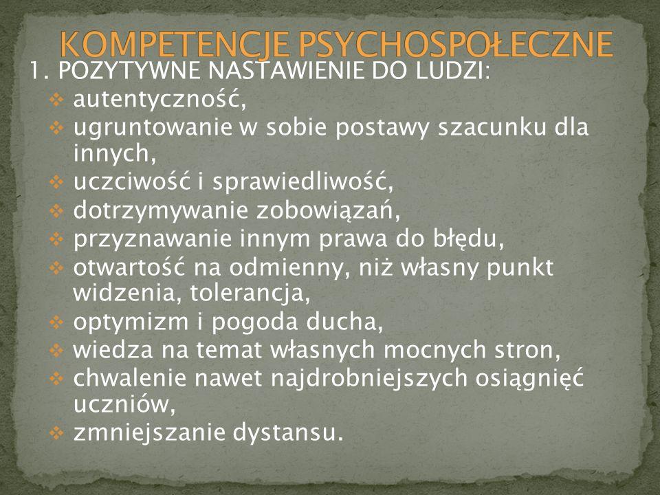 KOMPETENCJE PSYCHOSPOŁECZNE