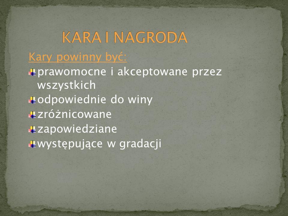 KARA I NAGRODA Kary powinny być: