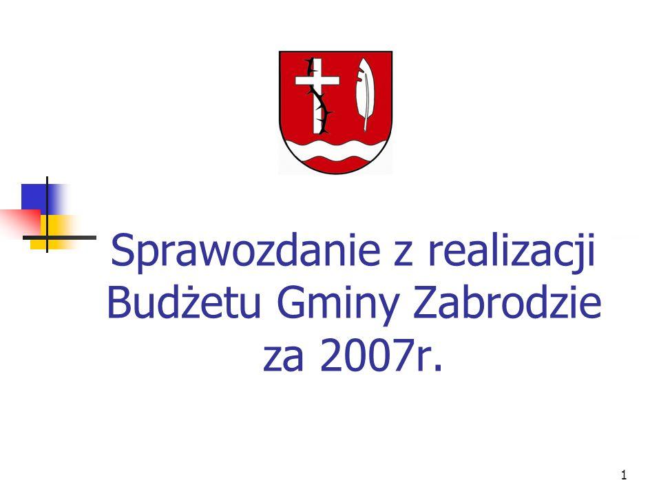 Sprawozdanie z realizacji Budżetu Gminy Zabrodzie za 2007r.