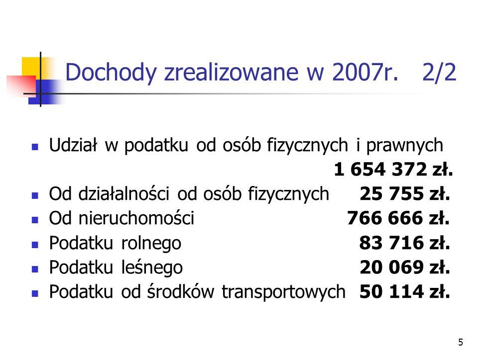 Dochody zrealizowane w 2007r. 2/2