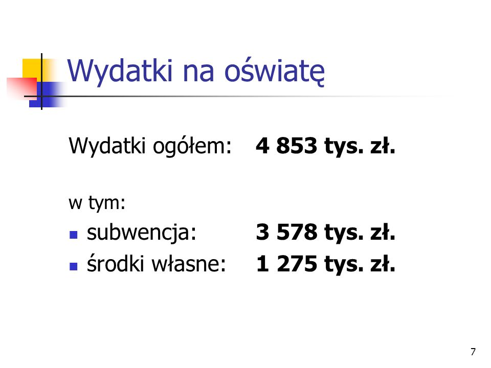 Wydatki na oświatę Wydatki ogółem: 4 853 tys. zł.