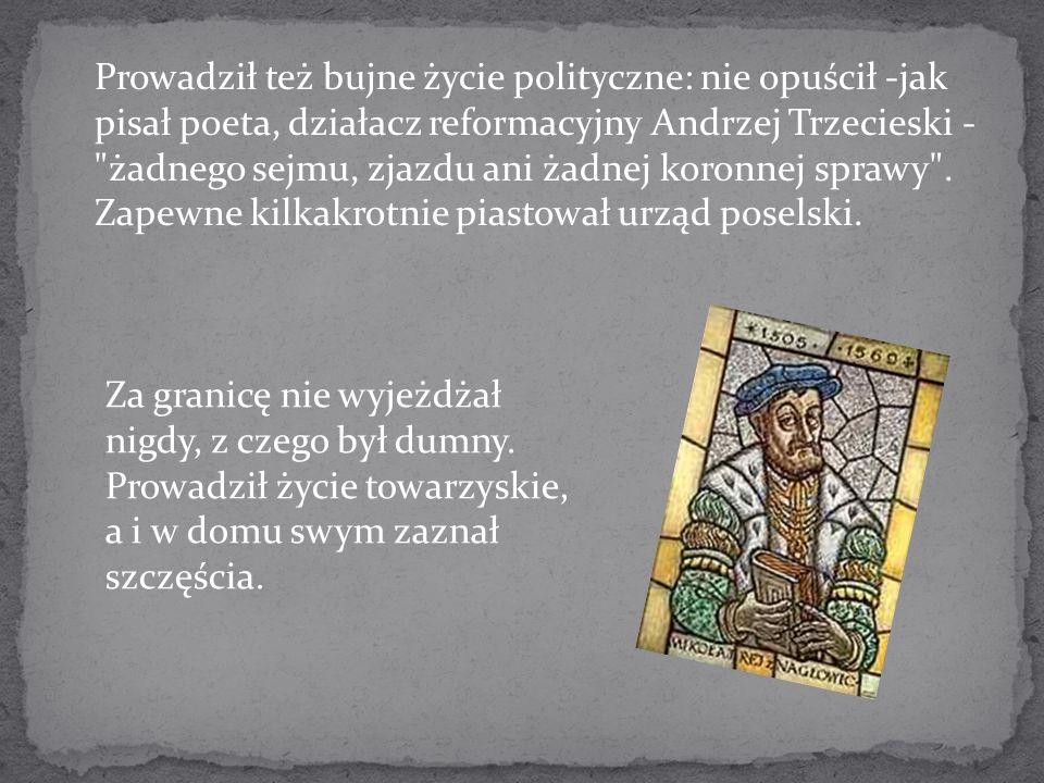 Prowadził też bujne życie polityczne: nie opuścił -jak pisał poeta, działacz reformacyjny Andrzej Trzecieski - żadnego sejmu, zjazdu ani żadnej koronnej sprawy . Zapewne kilkakrotnie piastował urząd poselski.